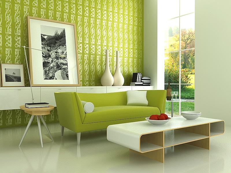 اللون الأخضر ودرجاتة في التصميم الداخلي
