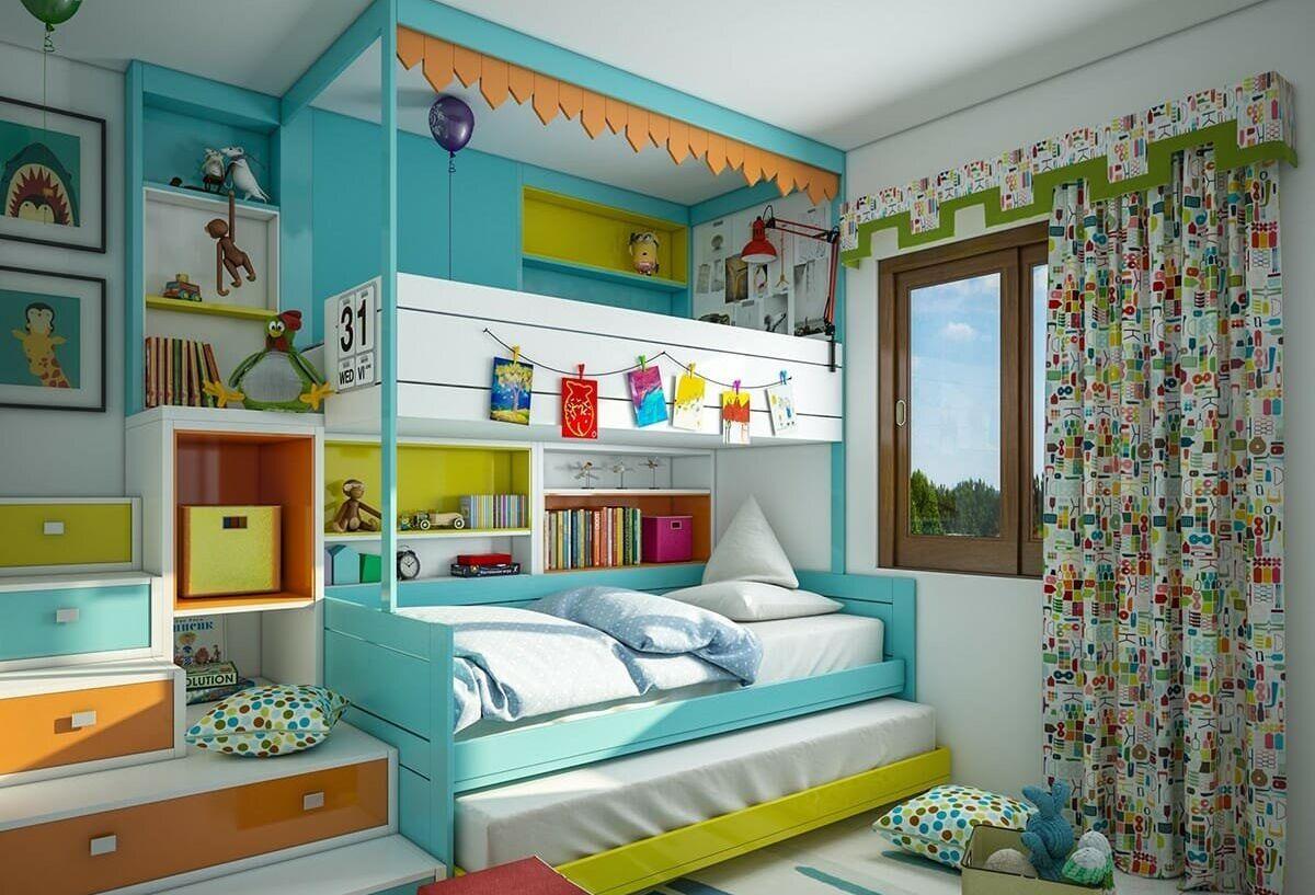 التصميم الداخلي لغرفة الأطفال ستائر غرفة أطفال